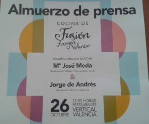 Cocina de fusión Aragón Valencia Almuerzo de Prensa