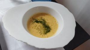Crema de cigalitas infusionada con lemon grass Sonia Selma en Rte Raúl Resino