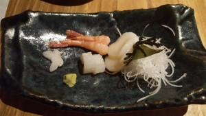 Sashimi de vieras, gambas y pez mantequilla Sonia Selma en Nozomi