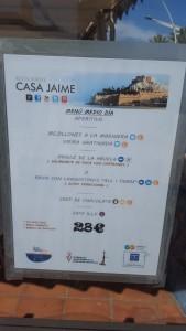 Menú Restaurante Casa Jaime Sonia Selma