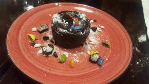 Coulant de chocolate con galleta maría y lacasitos